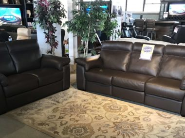 B757 Natuzzi Chocolate Power Sofa & Loveseat