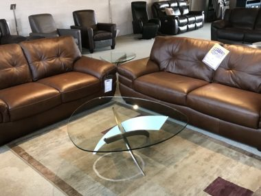 B806 Natuzzi Walnut Sofa and Loveseat